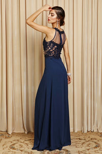 Navy Lace & Mesh Top Flare Chiffon Long Dress