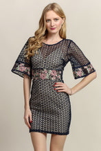 Quarter Sleeve Crochet Lace Short Dress