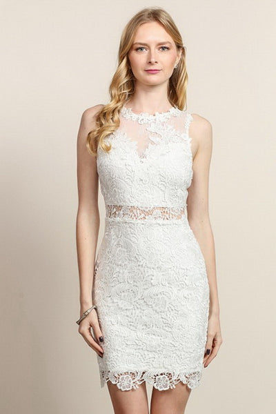 White Lace Fitted Short Dress