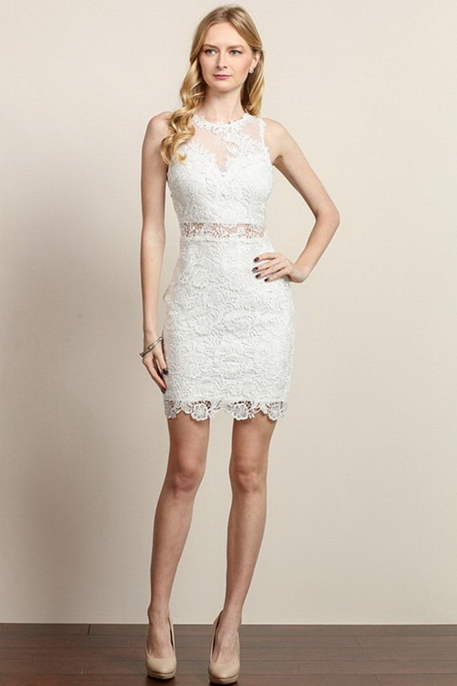 3d17f372dd6d White Lace Fitted Short Dress – Aquarius Brand