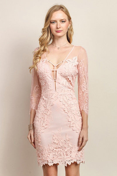 Strap Front Detail Mid-Sleeve Lace Fitted Dress