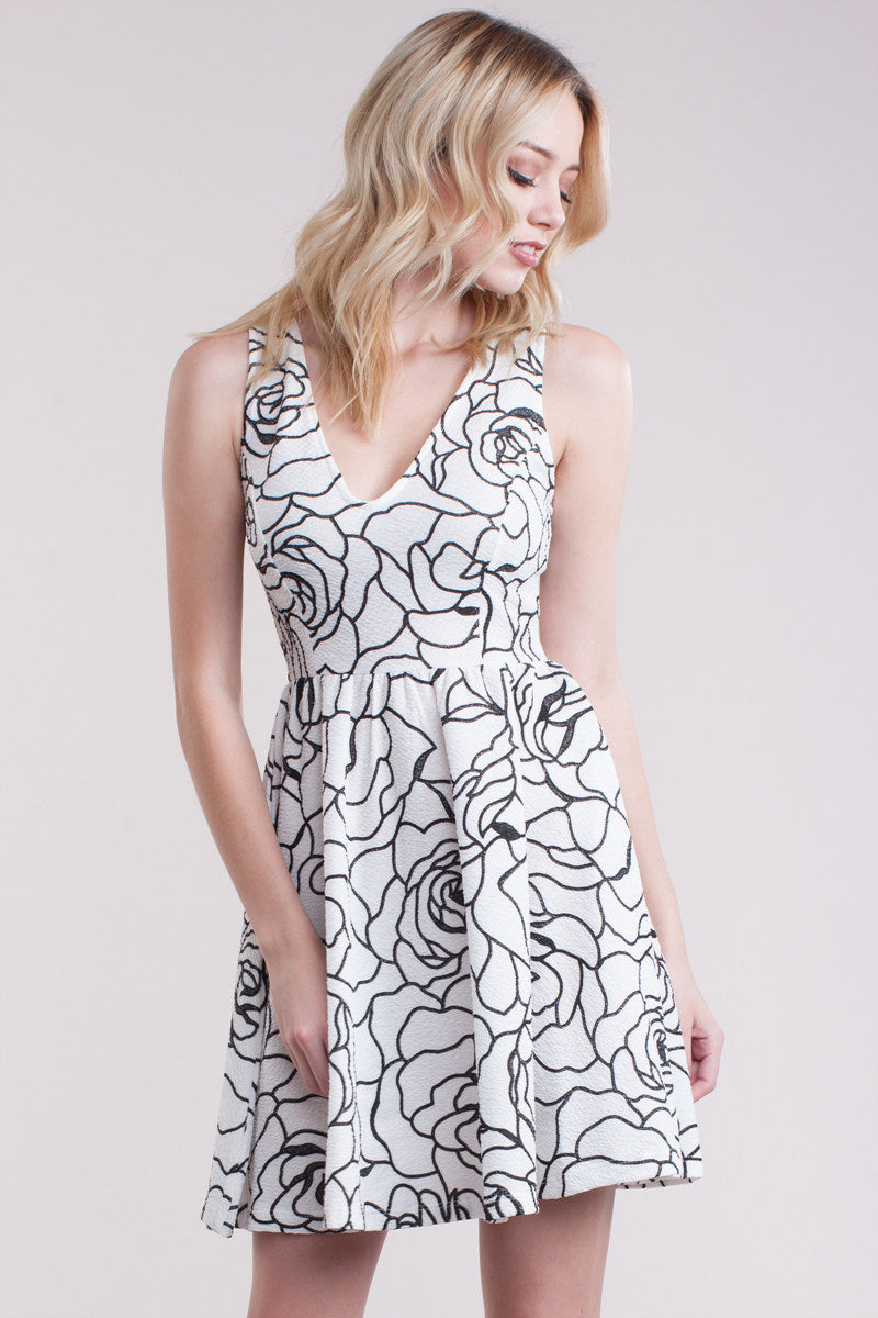Black White Rose Patterned Short Dress