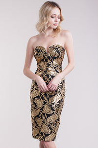 Golden Floral Bodycon Dress