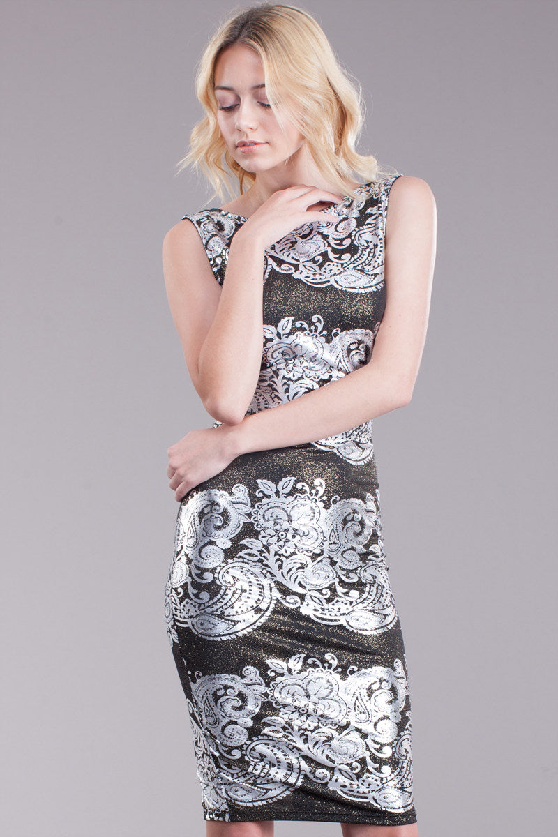 Metallic Flower Printed Midi Dress