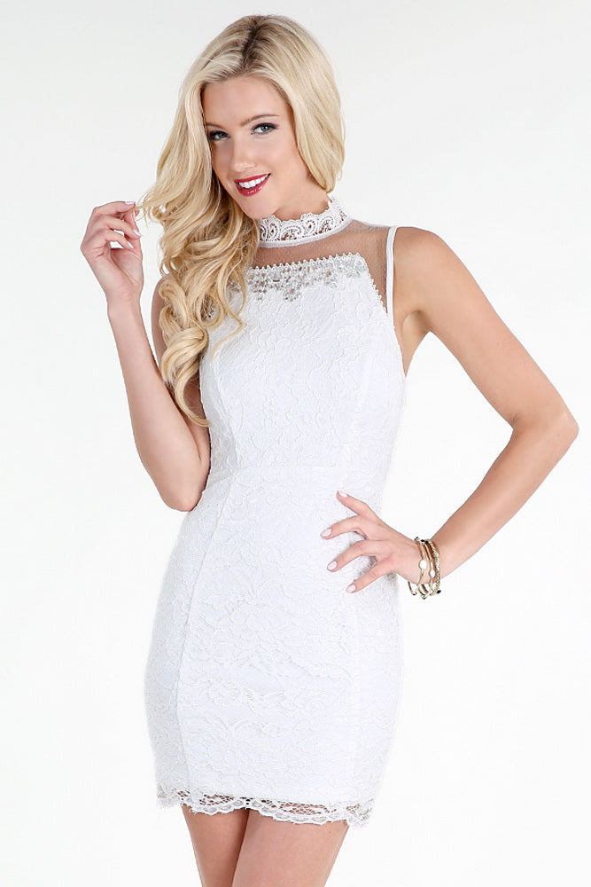 White Jeweled Sheer Soft Lace Dress