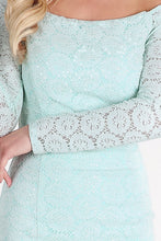 Aqua Sequined Lace Off Shoulder Dress