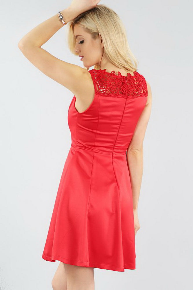 Red Ribbon Belted Satin Dress