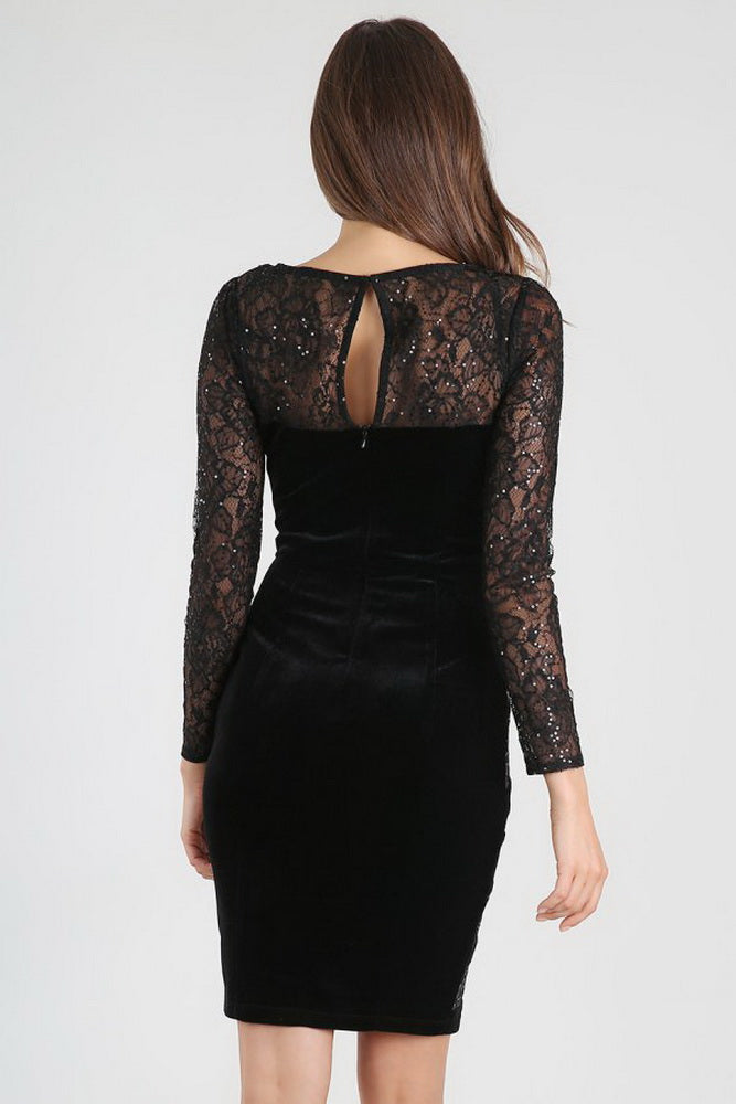 Black Sheer Lace Velvet Dress