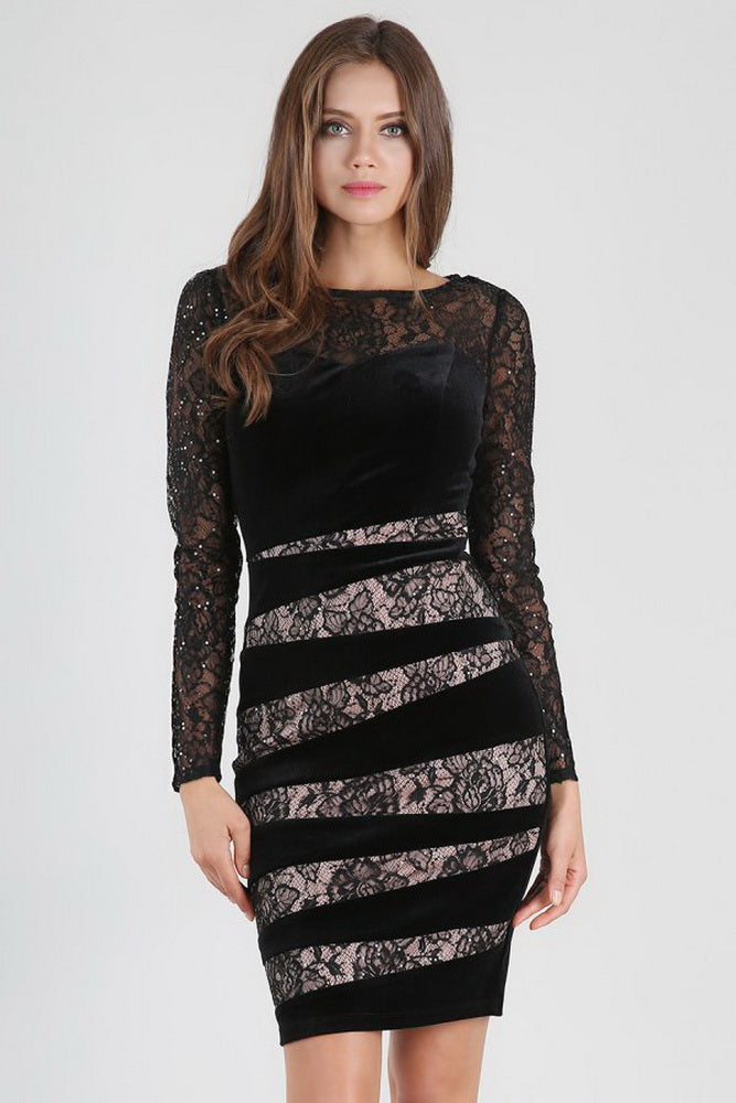 Sheer Lace Cocktail Dress