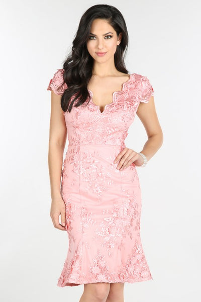 Pink Cap Sleeve Lace Dress