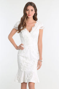 White Cap Sleeve Lace Dress