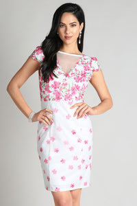 Magenta Floral Printed Lace Dress