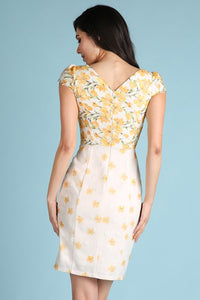 Yellow Floral Printed Lace Dress