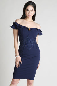 Navy Off Shoulder Embellished Waist Cocktail Dress