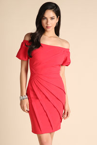 Red Pleated Off Shoulder Ponte Dress