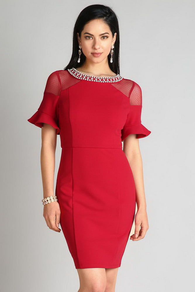 Burgundy Embellished Sheer Trumpet Sleeve Dress