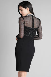 Black Sheer High Neck Beaded Ponte Dress