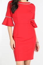 Red Pearl Beaded Bell Sleeve Dress