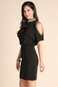 Black Open Shoulder Beaded Cocktail Dress