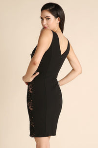 Black Sleeveless Sequined Lace Panel Dress