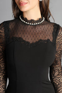 Pearl Neck Sheer Long Sleeve Cocktail Dress