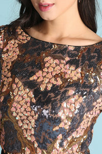 Peach And Purple Sequin Cocktail Dress