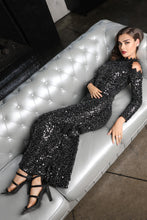 Black Fully Sequin Open Shoulder Long Dress