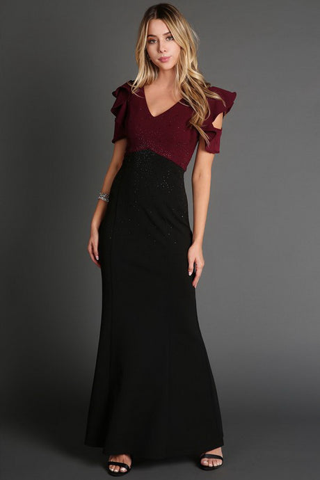 Two Colors Ruffled Sleeve Long Dress