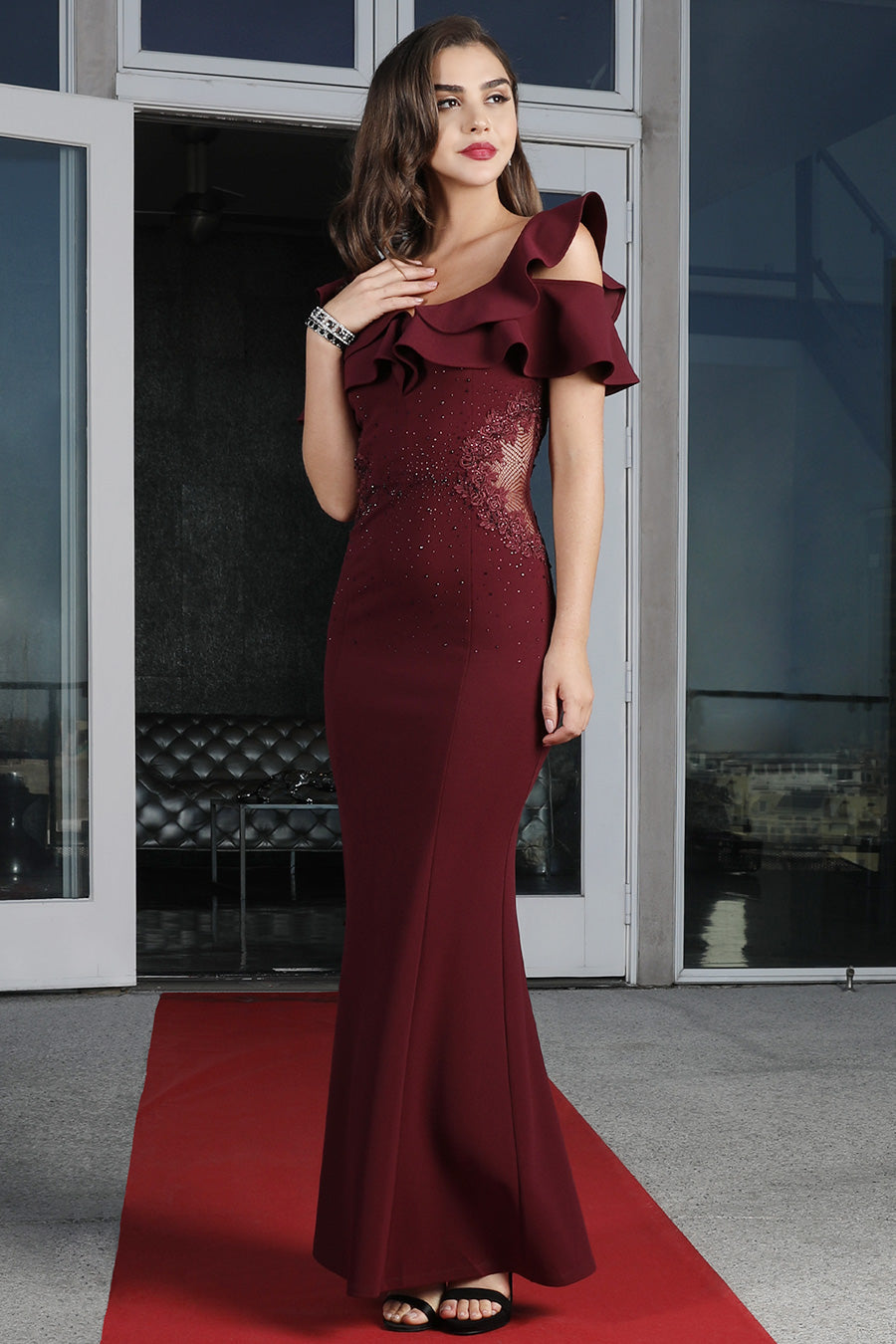 Burgundy Embellished Side Sheer Long Dress