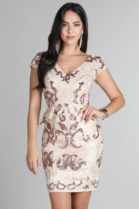 Gold Fully Sequined Lace Peplum Dress