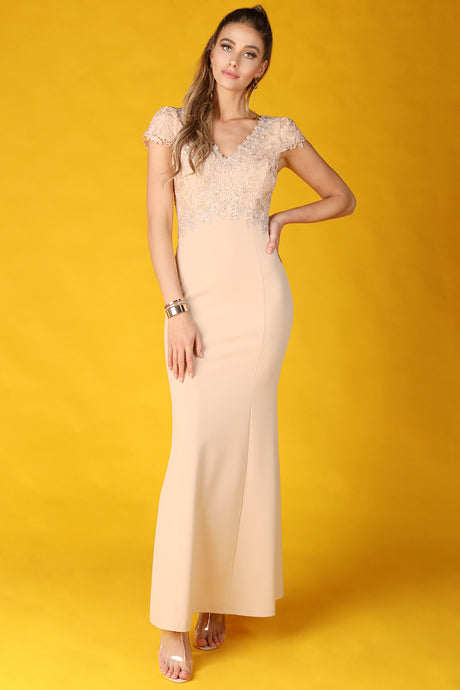 Beige Rhinestone Embellished Cap Sleeve Maxi Dress