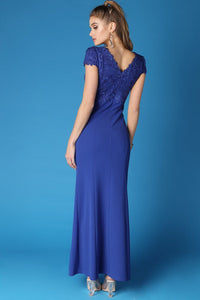 Royal Blue Rhinestone Embellished Cap Sleeve Maxi Dress