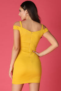 Yellow Off Shoulder With Metal Trimmed Straps