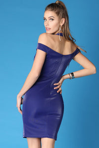 Blue Shiny Solid Off Shoulder Halter Dress