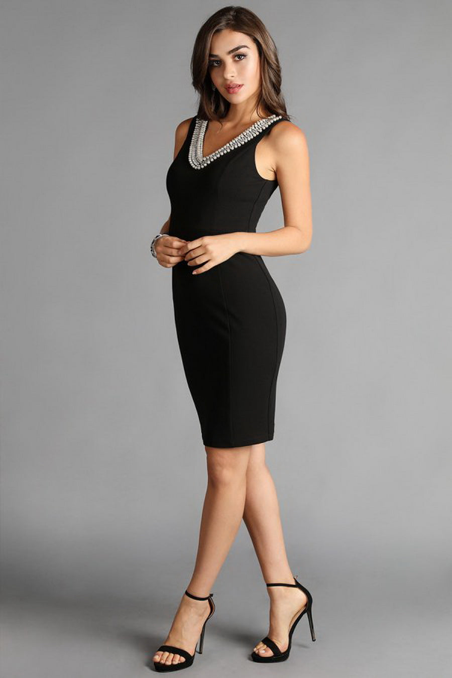 Black Pearl Beaded V Neck Solid Dress