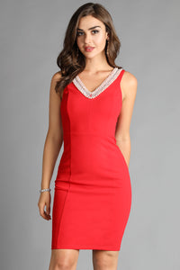 Red Pearl Beaded V Neck Solid Dress
