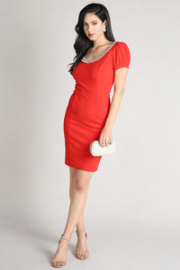 Red Jeweled Round Neck Short Dress