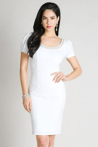 White Jeweled Round Neck Short Dress