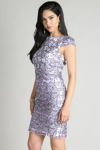 Lavender Cap Sleeve Embroidery Lace Cocktail Dress