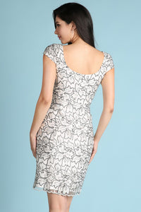 White Cap Sleeve Embroidery Lace Cocktail Dress