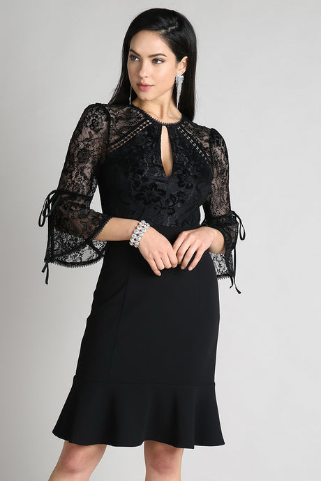 Black Velvet Burnout Twofer Dress