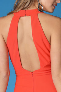 Orange Cross Halter Neck Solid Dress