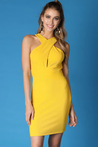 Yellow Cross Halter Neck Solid Dress