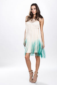 Ombre Fringe Crochet Yoke Dress