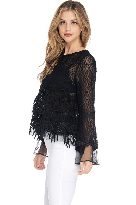 Black Mesh Dotted Patterns See-Thru Long Bell-Shaped Sleeves Top