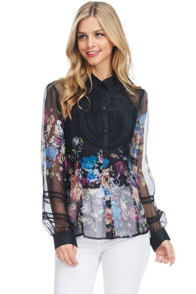 Black Colorful Floral Prints Ruffled See-Through Long Sleeves Chiffon Top