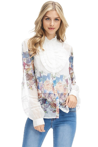 White Colorful Floral Prints Ruffled See-Through Long Sleeves Chiffon Top