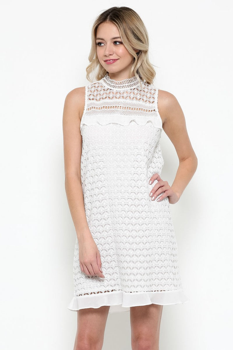 White Crochet Lace Short Dress