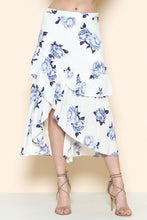 Blue Flower On White Midi Skirt