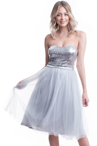 Grey Strapless Sequin Top Mesh Layer Dress